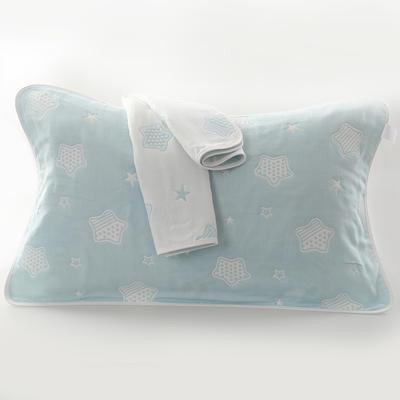 2019新款六层纱布枕巾-50*80cm/对 星星蓝色