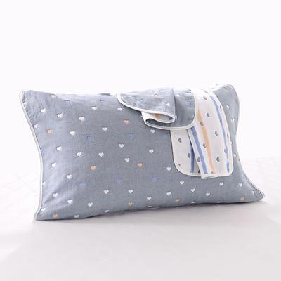 2019新款六层纱布枕巾-50*80cm/对 爱心灰