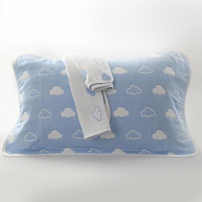 2019新款六层纱布枕巾-50*80cm/对 云朵蓝色
