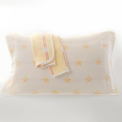 2019新款六层纱布枕巾-50*80cm/对 星星黄