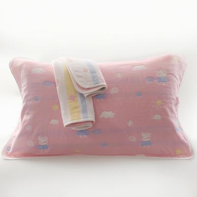 2019新款六层纱布枕巾-50*80cm/对 小猪佩奇粉色