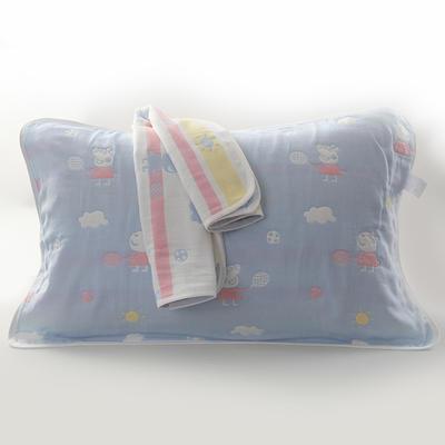 2019新款六层纱布枕巾-50*80cm/对 小猪佩奇蓝色