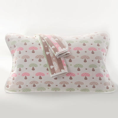 2019新款六层纱布枕巾-50*80cm/对 蘑菇