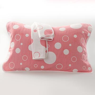 2019新款六层纱布枕巾-50*80cm/对 气泡粉色
