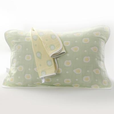 2019新款六层纱布枕巾-50*80cm/对 煎蛋绿