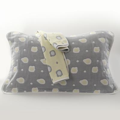 2019新款六层纱布枕巾-50*80cm/对 煎蛋灰