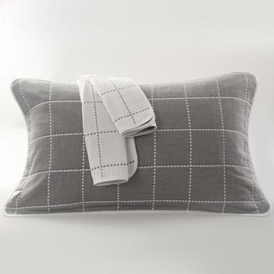 2019新款六层纱布枕巾-50*80cm/对 虚线格灰