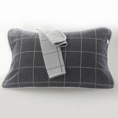 2019新款六层纱布枕巾-50*80cm/对 虚线格蓝