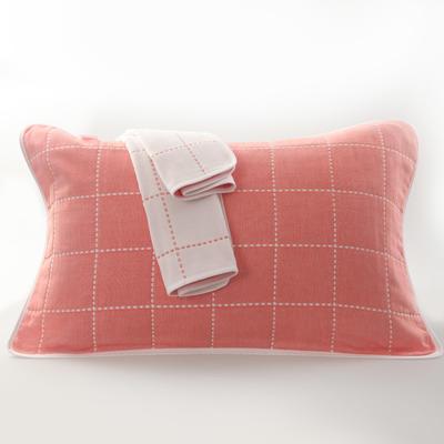 2019新款六层纱布枕巾-50*80cm/对 虚线格桔