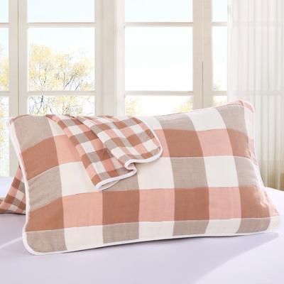 2019新款六层纱布枕巾-50*80cm/对 大格子粉色