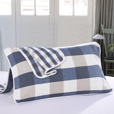 2019新款六层纱布枕巾-50*80cm/对 大格子蓝色