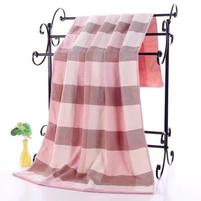 2019新款浴巾-70*140cm 日系格子粉