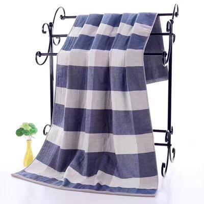 2019新款浴巾-70*140cm 日系格子蓝