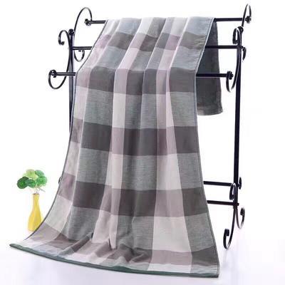 2019新款浴巾-70*140cm 日系格子绿