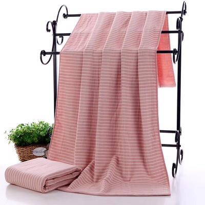2019新款浴巾-70*140cm 日系条纹粉