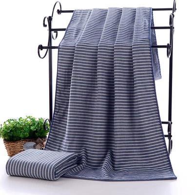 2019新款浴巾-70*140cm 日系条纹蓝
