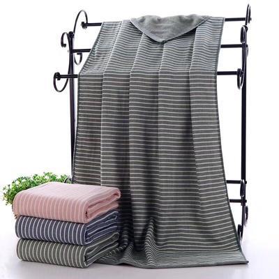 2019新款浴巾-70*140cm 日系条纹绿