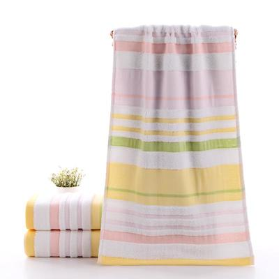 2019新款浴巾-70*140cm 炫彩条纹黄