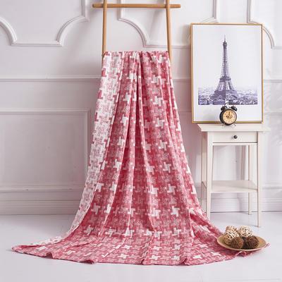 2019新款水洗棉纱布毛巾被 150x200cm 风车红