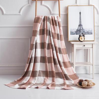 2019新款水洗棉纱布毛巾被 100x150cm 复古大格粉