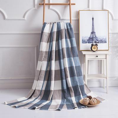 2019新款水洗棉纱布毛巾被 100x150cm 复古大格蓝
