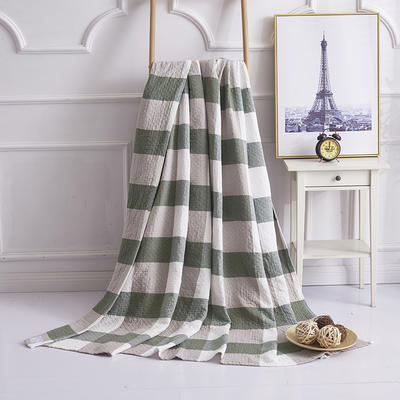 2019新款水洗棉纱布毛巾被 100x150cm 复古大格绿