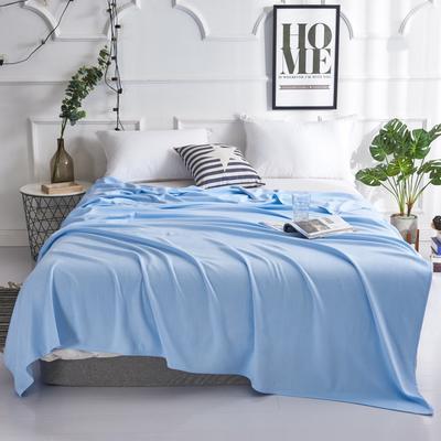 2019新款竹纤维毛巾被 100x150cm 棱形格蓝
