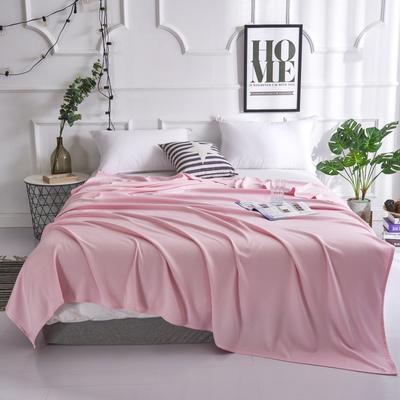 2019新款竹纤维毛巾被 100x150cm 菱形格粉