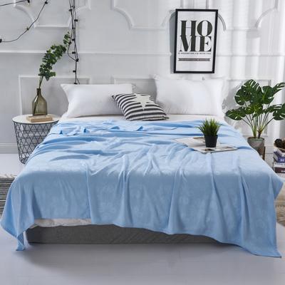 2019新款竹纤维毛巾被 100x150cm 六叶草蓝
