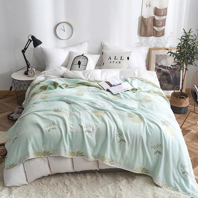 2019新款八层纱布毛巾被 90x100cm 菠萝绿