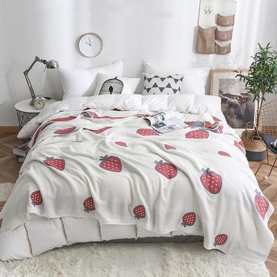 2019新款八层纱布毛巾被 90x100cm 草莓白