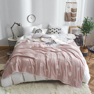 2019新款八层纱布毛巾被 90x100cm 草莓粉