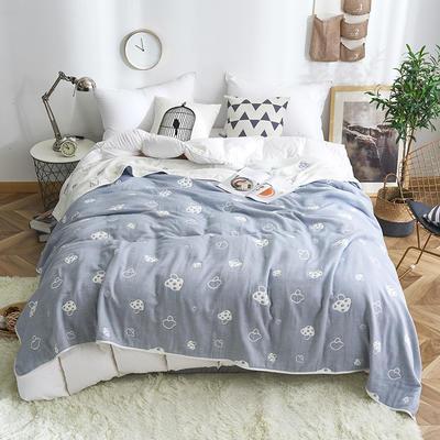 2019新款八层纱布毛巾被 90x100cm 草莓蓝