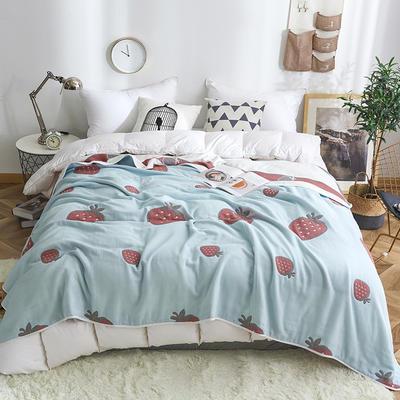 2019新款八层纱布毛巾被 90x100cm 草莓绿