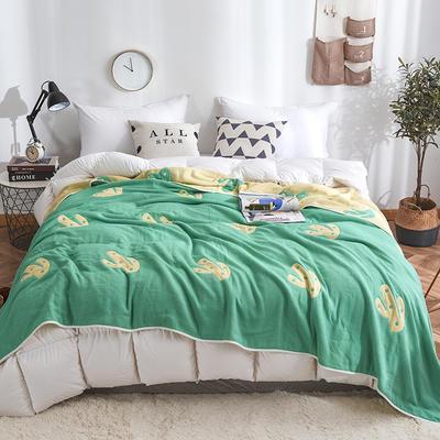 2019新款八层纱布毛巾被 90x100cm 仙人掌绿