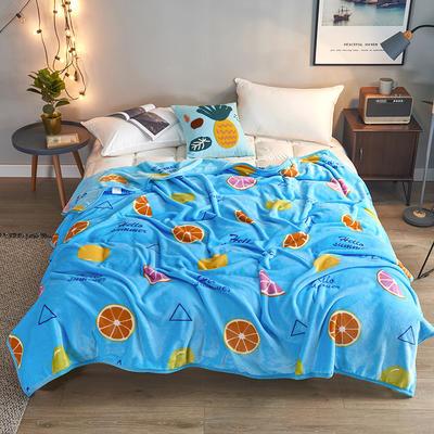2019新款云貂绒毯印花盖毯 100cm*140cm 缤纷甜橙