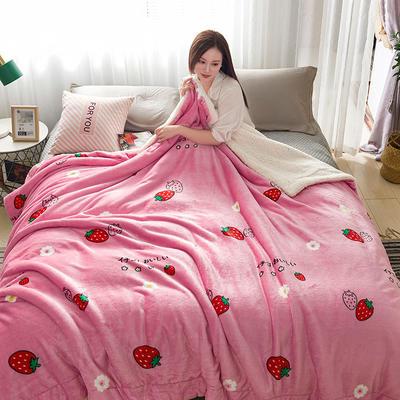 2019新款臻幻绒+羊羔绒毛毯 100*150cm 草莓