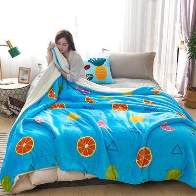 2019新款臻幻绒+羊羔绒毛毯 200*230cm 果橙派