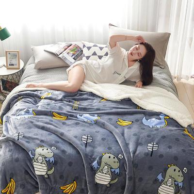2019新款臻幻绒+羊羔绒毛毯 200*230cm 萌宠恐龙