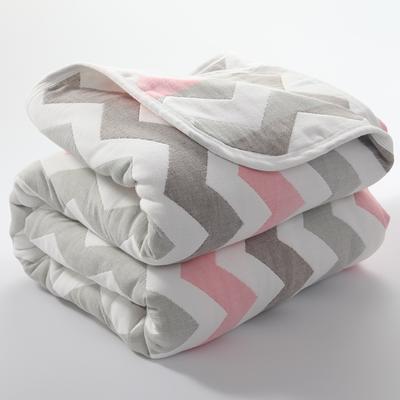 2019新款六层纱布毛巾被 90*100cm 菱纹粉