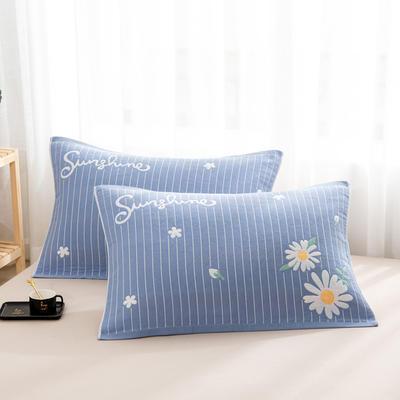 2020新款双层夹棉提花枕巾-52*78cm/对 菊花蓝