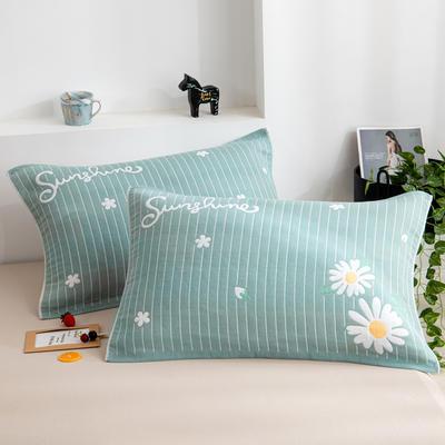 2020新款双层夹棉提花枕巾-52*78cm/对 菊花绿