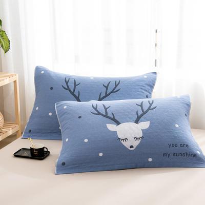 2020新款双层夹棉提花枕巾-52*78cm/对 麋鹿蓝