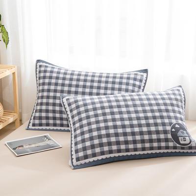 2020新款双层夹棉提花枕巾-52*78cm/对 小房子藏青