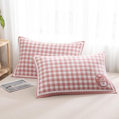 2020新款双层夹棉提花枕巾-52*78cm/对 小房子红