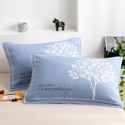2020新款三层提花枕巾-52*78cm/对 3发财树蓝