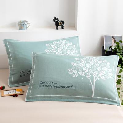 2020新款三层提花枕巾-52*78cm/对 4发财树绿
