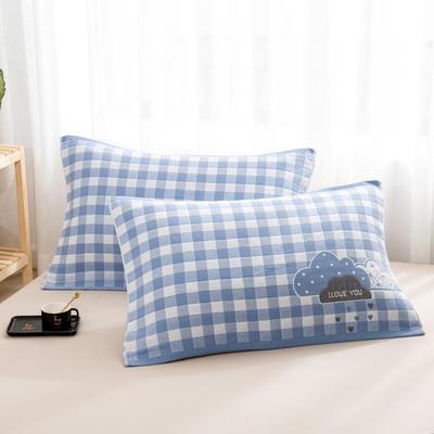 2020新款三层提花枕巾-52*78cm/对 22小云朵蓝