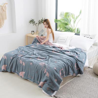 2020新款竹纤维加棉盖毯 100*150cm 北极熊蓝
