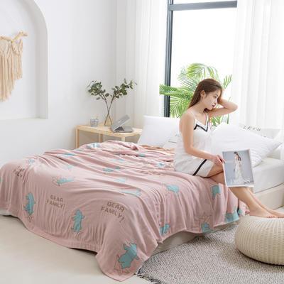 2020新款竹纤维加棉盖毯 150*200cm 飞机熊粉